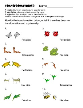 Transformations Worksheet 2