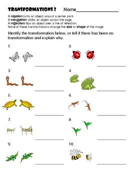 Transformations Worksheet 2