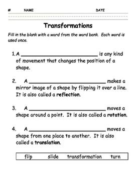 Transformations Worksheet by Jessie's   Teachers Pay Teachers