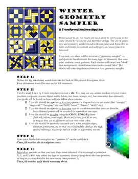 Transformations: a Quilt Sampler Project for Geometry (Cool Colors)