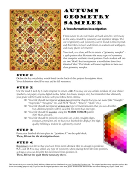 Transformations: a Quilt Sampler Project for Geometry (Fall Colors)