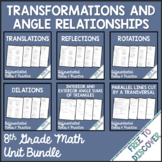 Transformations and Angle Relationships Notes and Practice Bundle