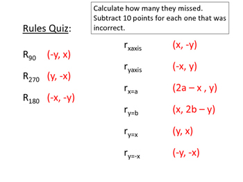 Transformations in Coordinate Plane Rules Quiz