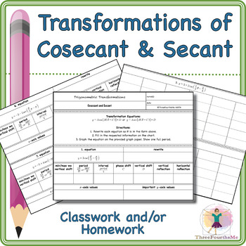 Transformations of Cosecant and Secant Classwork and/or Homework