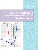 Transformations of Exponential Functions Memory Matching Game