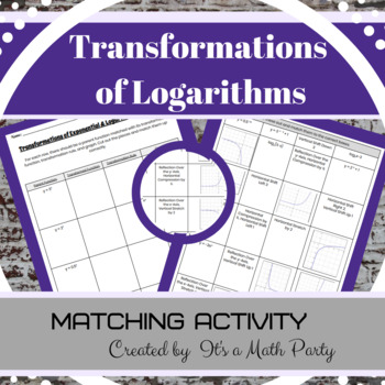 Transformations of Exponential & Logarithmic Equations - Matching Activity