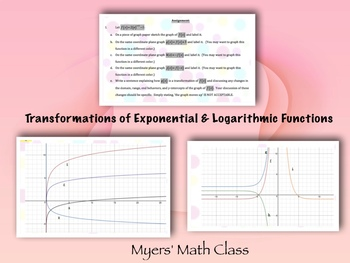 Transformations of Exponential & Logarithmic Functions  **