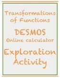 Transformations of Functions DESMOS Online Calculator Expl