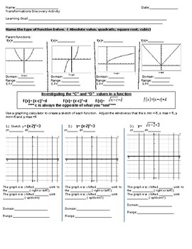 Transformations of Functions Graphing Calculator investigation