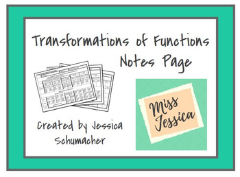 Transformations of Functions Notes Page