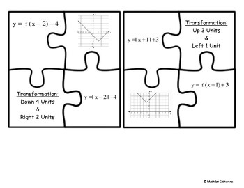 Transformations of Functions Puzzle Matching FREE