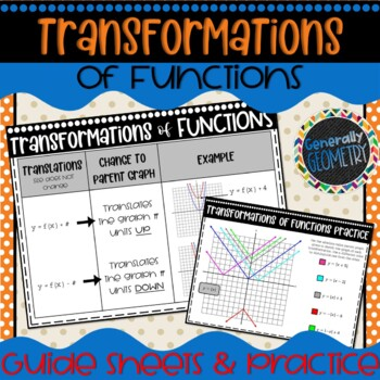 Transformations of Parent Functions Reference Sheets & Practice; Algebra 2