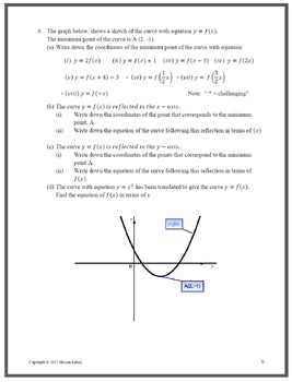 Transformations of Graphs including Sine, Cosine, Odd and Even Functions+answers