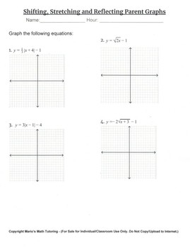 Transformations of Parent Functions (Graphing) Worksheet | TpT
