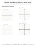 Transformations of Parent Functions (Graphing) Worksheet