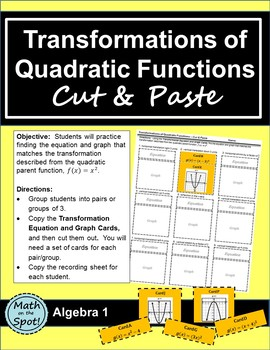 Transformations of Quadratic Functions Cut and Paste