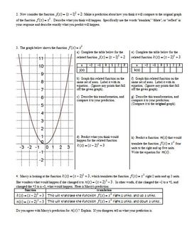 Transformations of Quadratic Functions Spring 2013 with Answer Key (Editable)