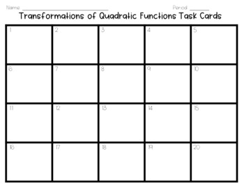 Transformations of Quadratic Functions Task Cards