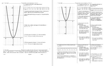 Transformations of Quadratic Functions for Algebra Spring 2014 w/ Key (Editable)