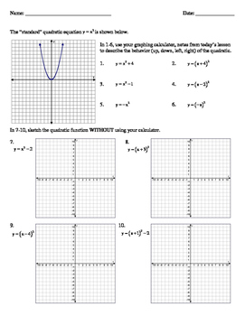Transformations of Quadratics and Absolute Value Function Worksheet and Key