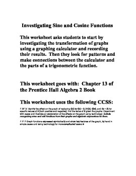 Transformations of Sine and Cosine Graphs - Chapter 13 - Prentice Hall Algebra 2