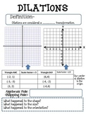 Transformations on a Coordinate Plane Graphic Organizers