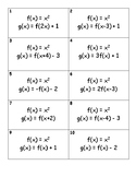 Transformations on the Quadratic Parent Function Matching