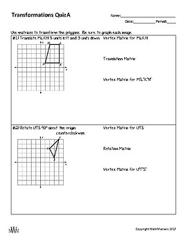 Transformations with Matrices Quiz