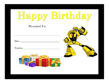 Transformers Birthday Certificates (Includes 6 Certificates)