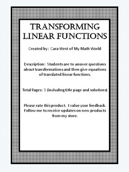 Transformations Of Linear Functions Teaching Resources Teachers