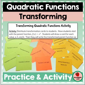 Transforming Quadratic Functions - Writing Equations Practice Review