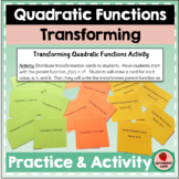 Transforming Quadratic Functions - Writing Equations Pract