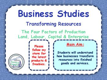 Transforming Resources - Factors of Production: Land Labou