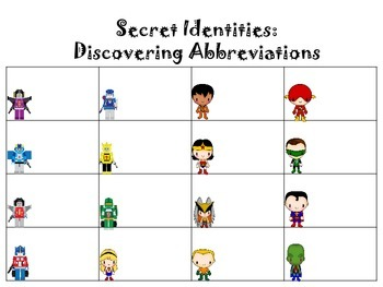 Transforming Words Into Abbreviations:  Write the Room Activity