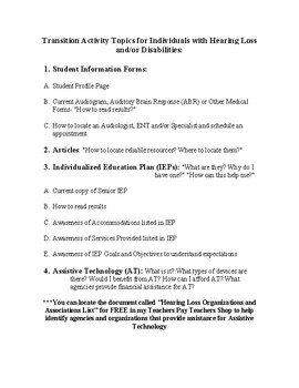 Transition Activity Focuses for DHH and Special Education Students