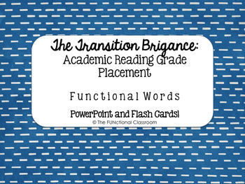 Transition Brigance Assessment: Reading Grade Placement Cards and Ppt