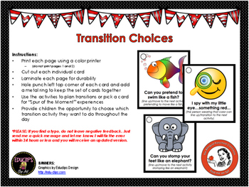 Transition Choices Cards