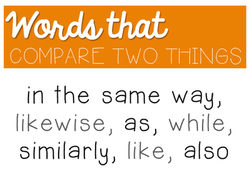 Transition/Linking Words Poster