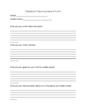 Transition Planning Parent Sheet
