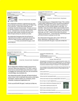 Transition Plans Independent Living Domain Overview Quiz & Discussion Worksheets