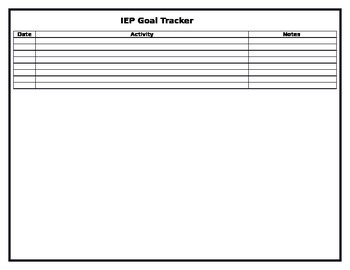 Transition Portfolio IEP Goal Tracker