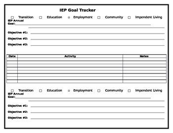 Transition Portfolio IEP Goal Tracker