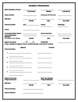 Transition Portfolio Student Information