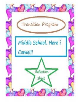 Transition Program--Reflection Sheet Middle School, Here i come!!!