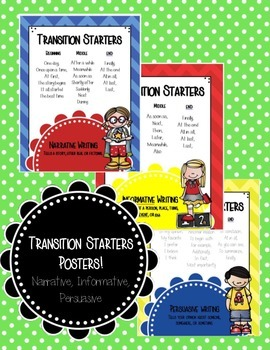 Transition Starters Poster Pack (Narrative, Informative, Persuasive)