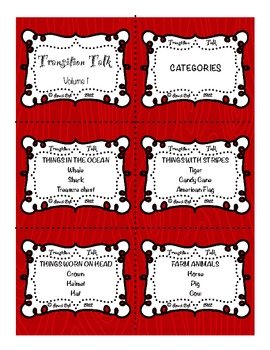 Transition Talk: Volume 1  Categories
