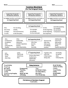 Transition Word Bank for Essays