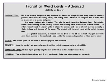 Transition Word Cards