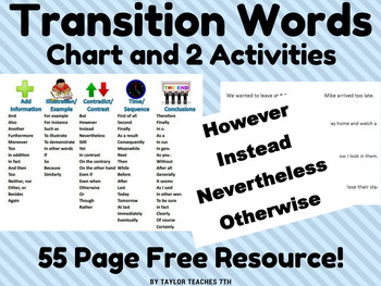 Transition Words and Phrases Chart and 2 Activities - ELA - Middle School