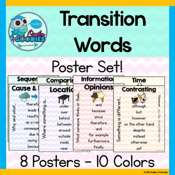 transition word posters 8 posters by oodles of goodies tpt